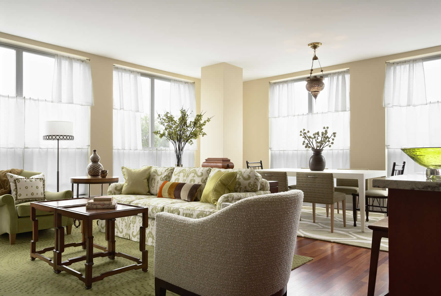 green ikat sofa in living room with green and neutral color palette