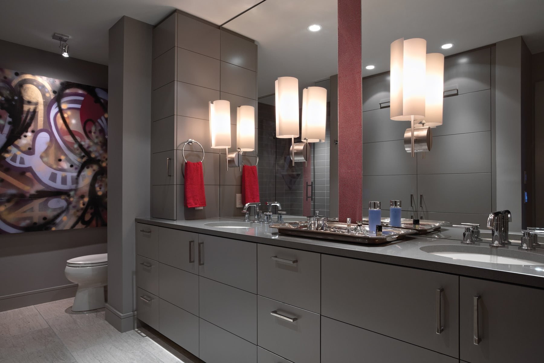 modern gray lacquer double vanity with red micro-mosiac tile accent