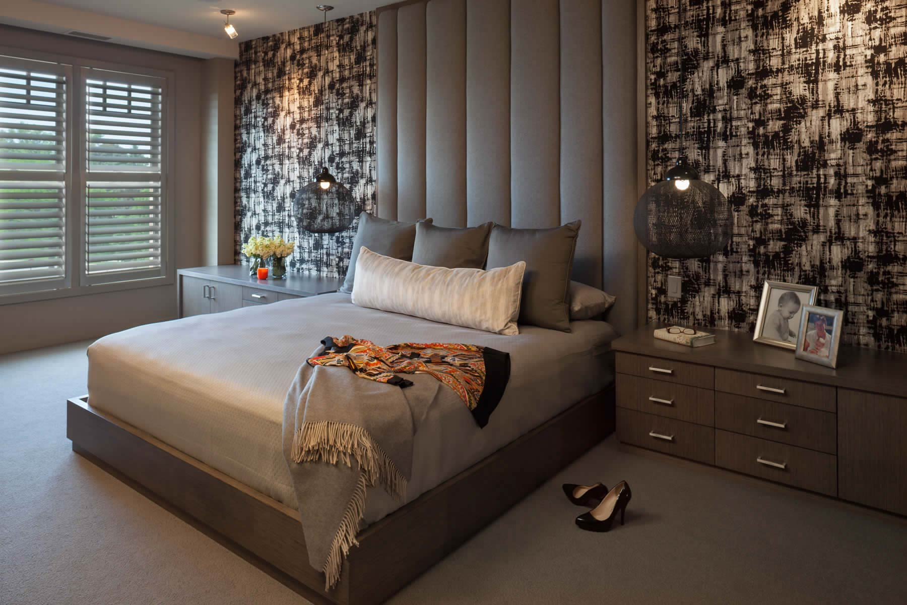 Modern Master Bedroom with upholstered headboard in grey color palette