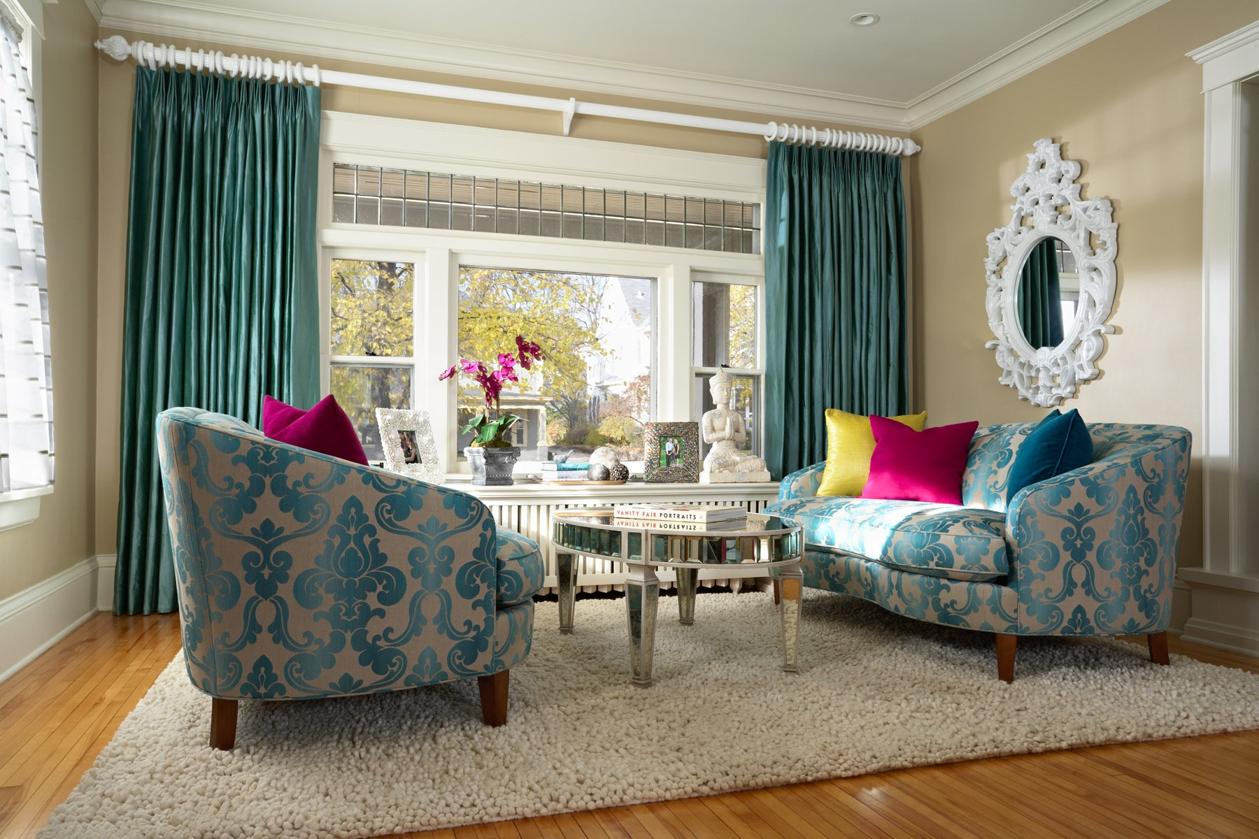 Turquoise Damask Living Room Loveseats With Shag Rug And Turquoise Silk  Drapery Part 48