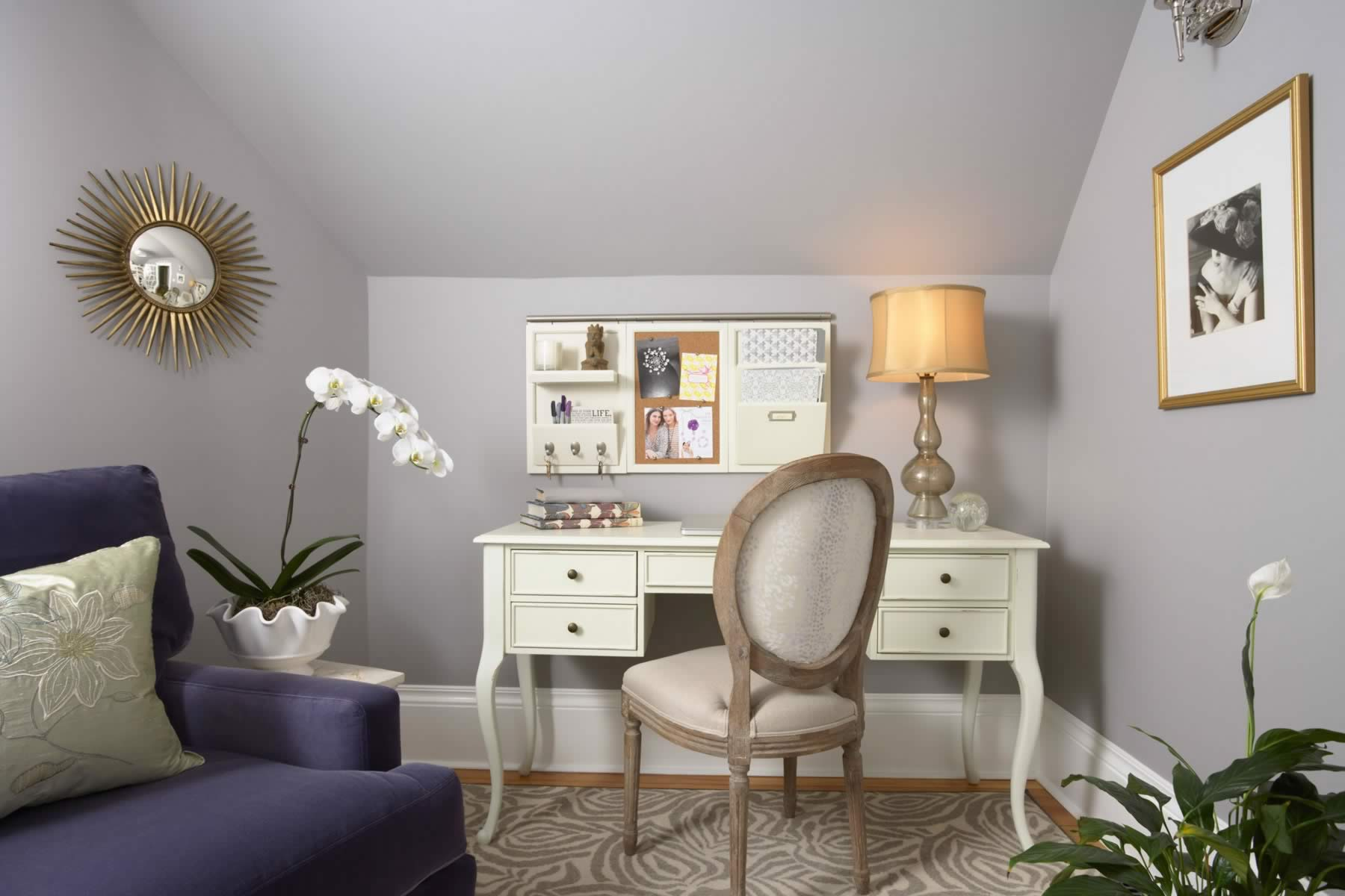 white French desk in lavender home office with purple chair