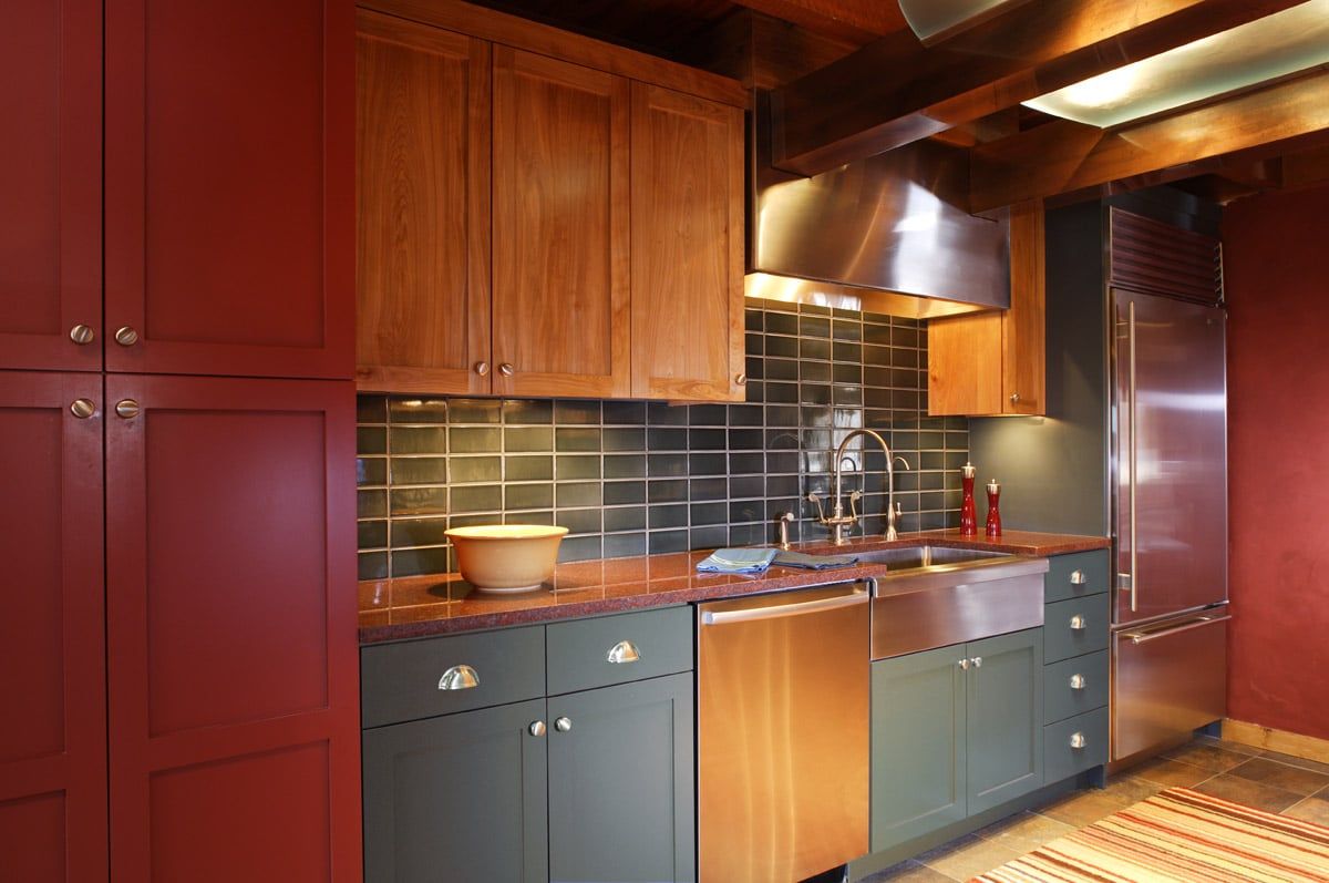 Color Block Cabinets In Log Cabin Kitchen Red Blue And Birch Cabinets
