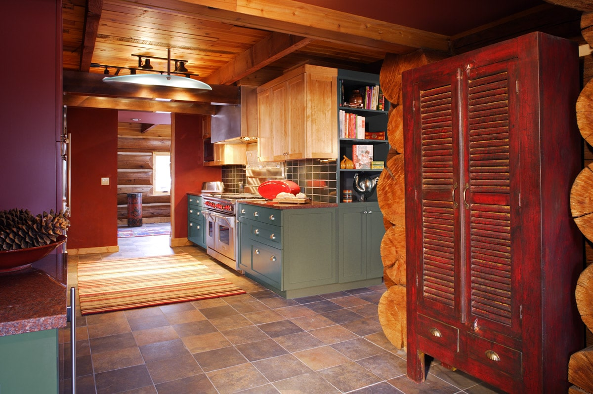 Log Cabin Kitchen With Pantry And Cook Book Shelving