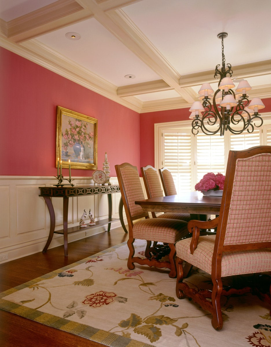 Formal dining room with painted coffered ceiling