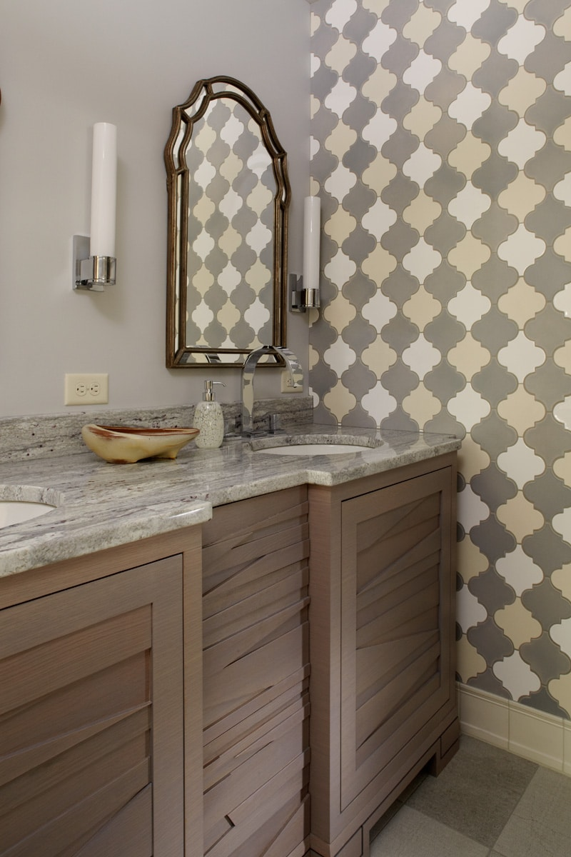 unique grey vanity in renovated master bath with Moroccan inspired tile