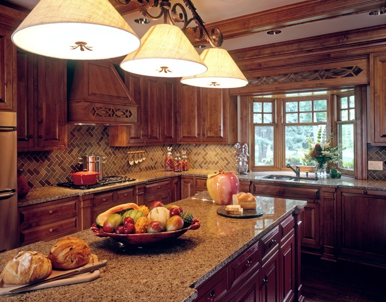Custom traditional kitchen with red painted island