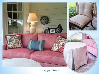 pink and blue porch design