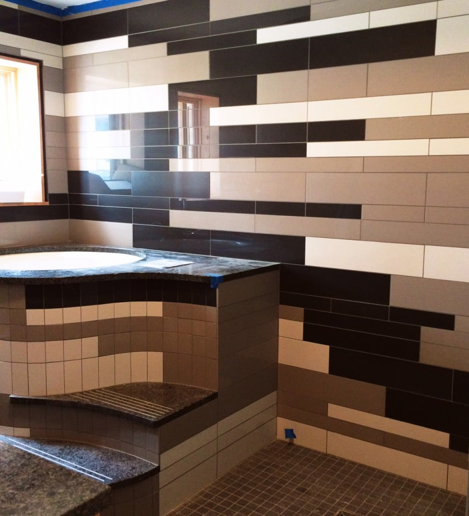 modern tile composition in black, white and taupe
