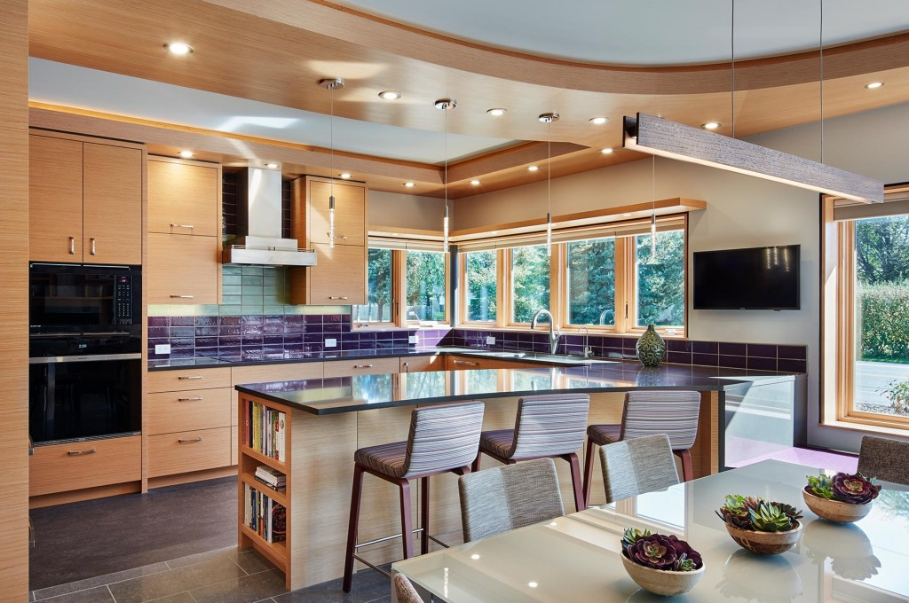 Modern, purple and cherry gourmet kitchen with energy-efficient lighting