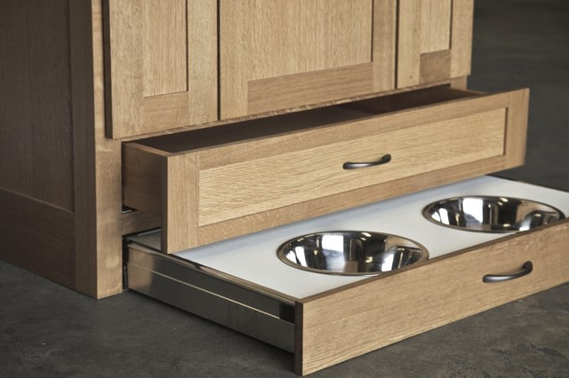 pet friendly interior design dog bowl storage