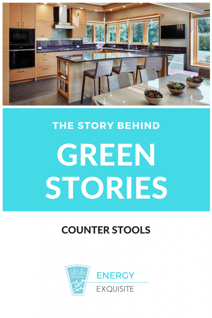 The Story Behind a Green Design Kitchen counter stools Enery Exquisite by LiLu interiors