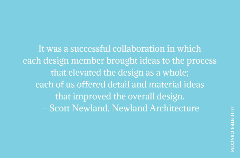 It was a successful collaboration in which each design member brought ideas to the process that elevated the design as a whole; each of us offered detail and material ideas that improved the overall design.