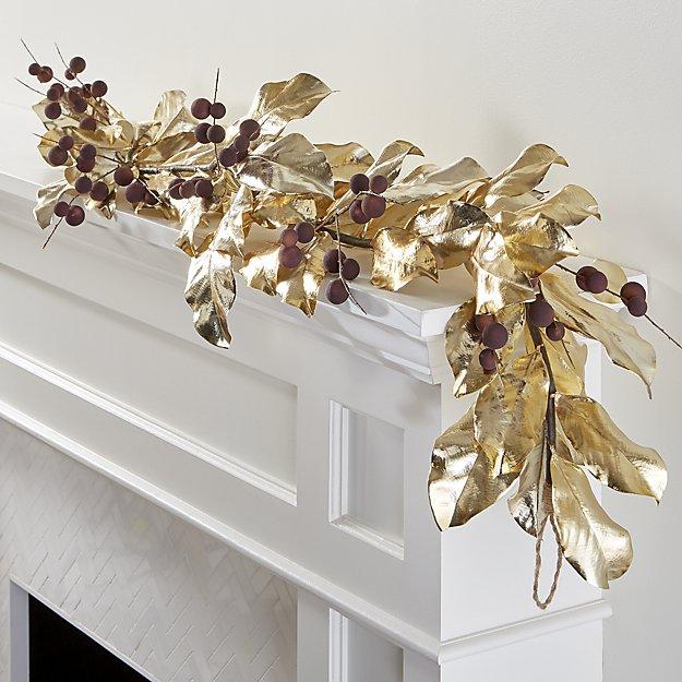 Gold Magnolia Garland for Christmas
