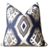 accent pillow blue ikat