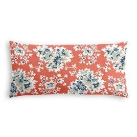 coral and blue accent pillow