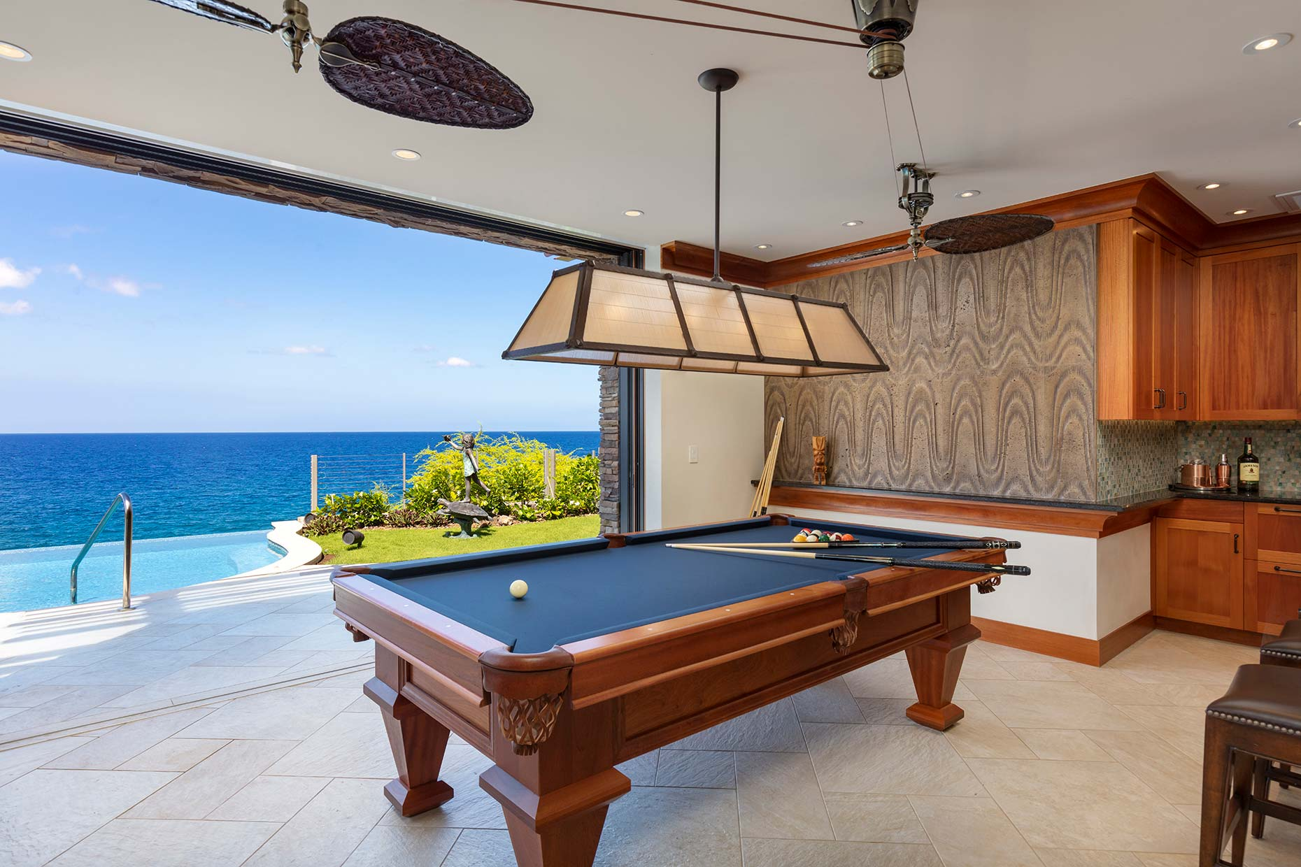 Hawaii game room waterfront luxury new construction home