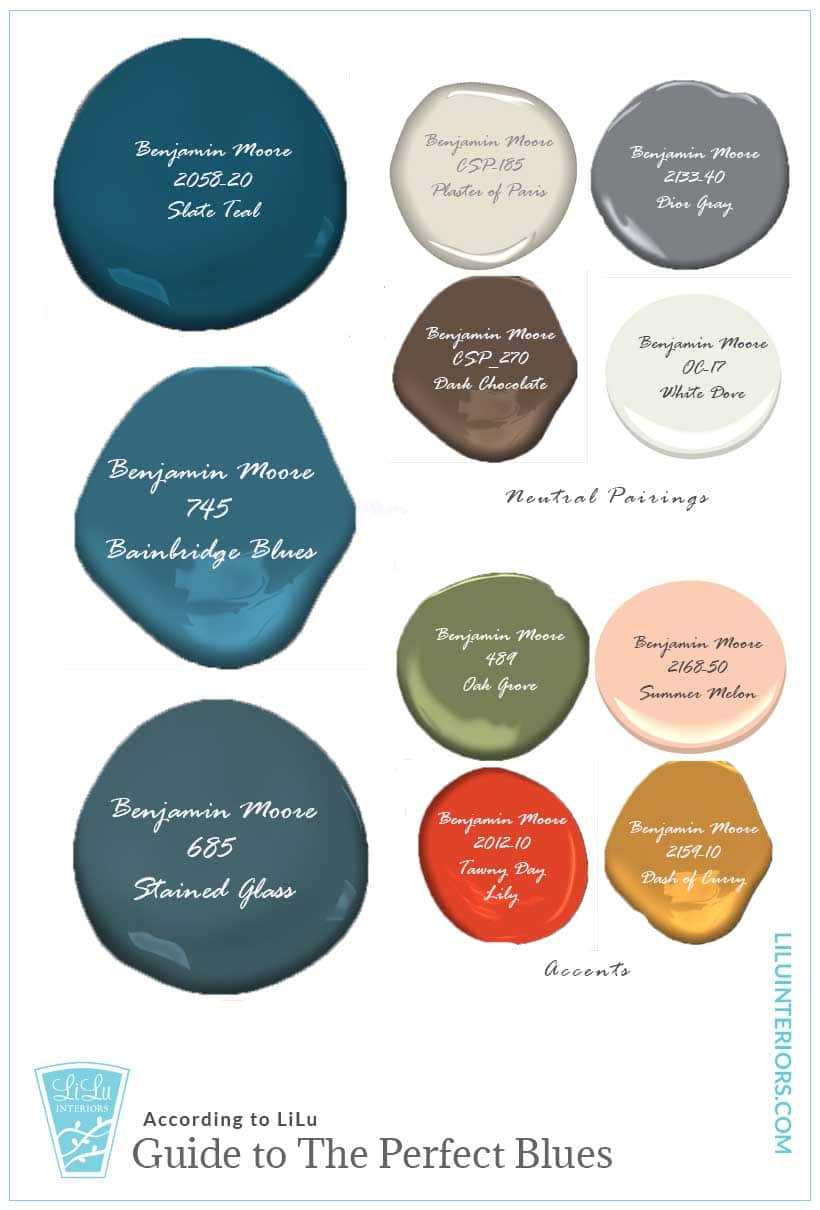 Interior designers share the perfect blue paint colors to use for design interiors and the colors that pair well with navy, spa blue, blue-greens and coastal blues. CLICK TO SEE MORE #colorscheme #colorpalette #blue #classicblue #interiordesign #interiordesignideas #homedesigncolors #colorpalettes #spablue #coastalblue #navyblue