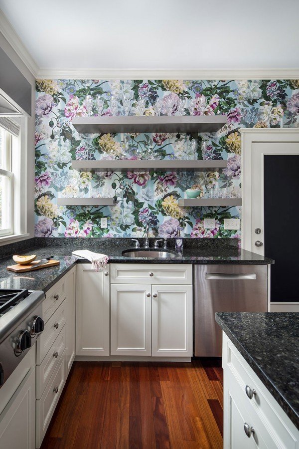 kitchen floral wallpaper