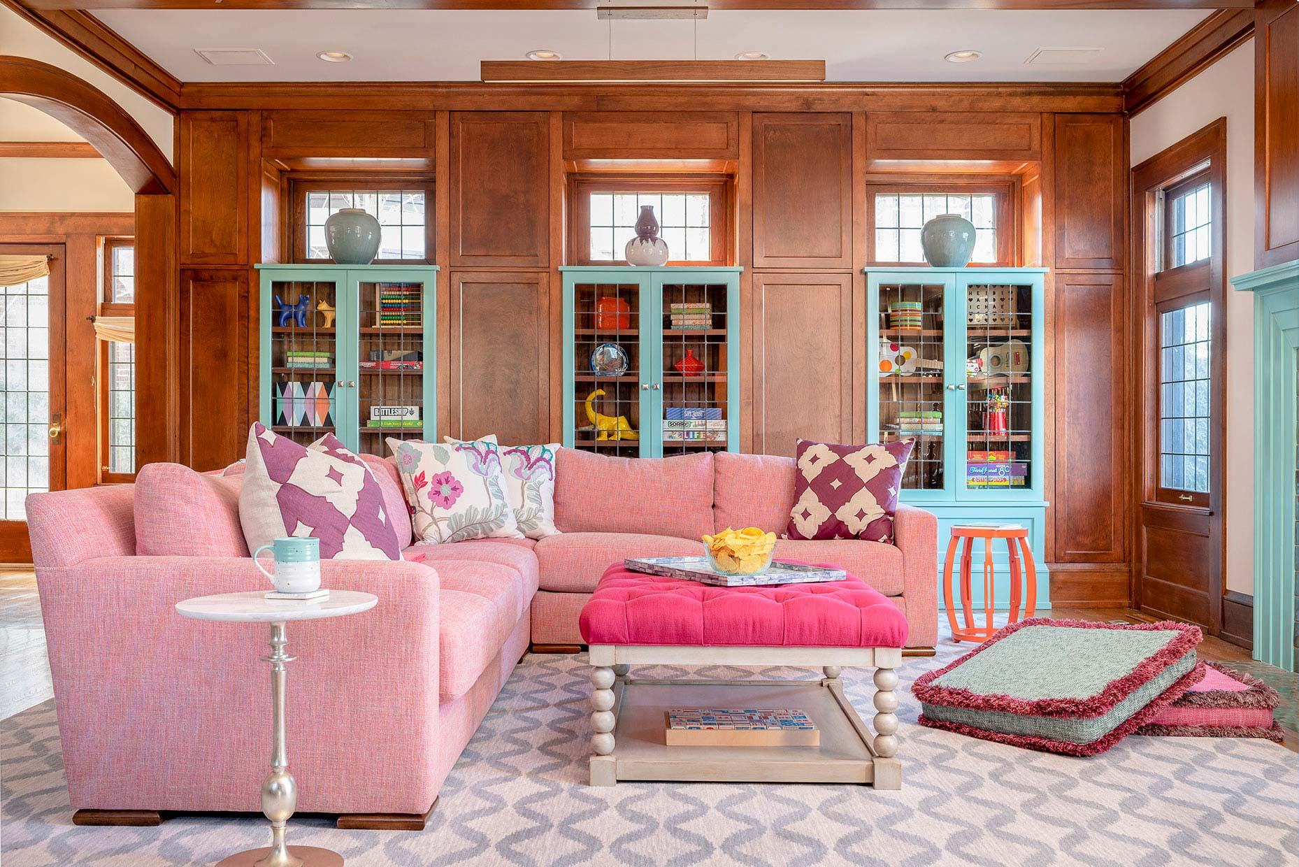 Updated spark joy family room pink turquoise interior