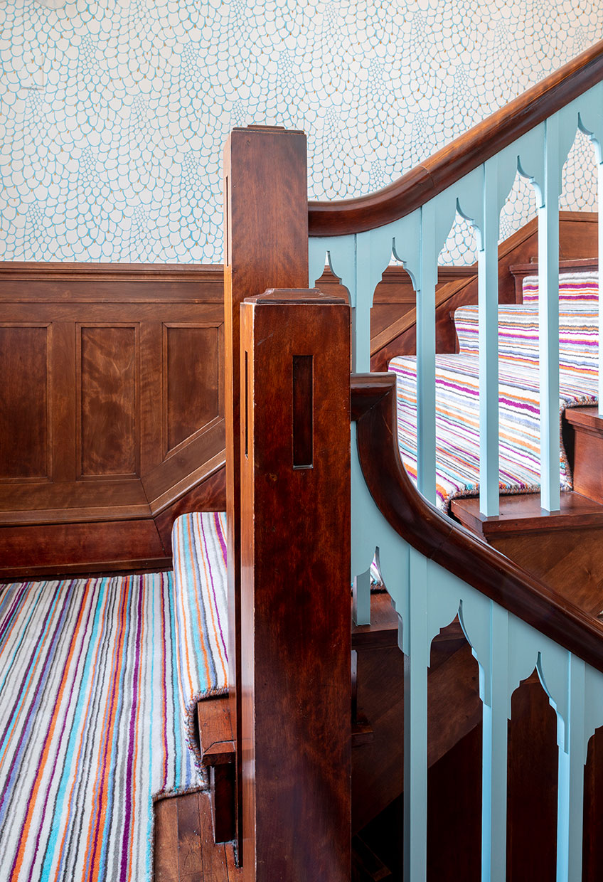 Updated classic staircase turquoise