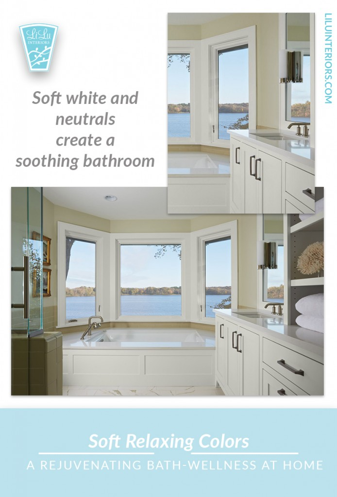 Soothing color, soft lighting, the best bathtub, a guide to creating a rejuvenating, relaxing bathing ritual at home. No need to go to the spa to increase wellness. #bath #bathing #bathingredients #wellness #interiordesign