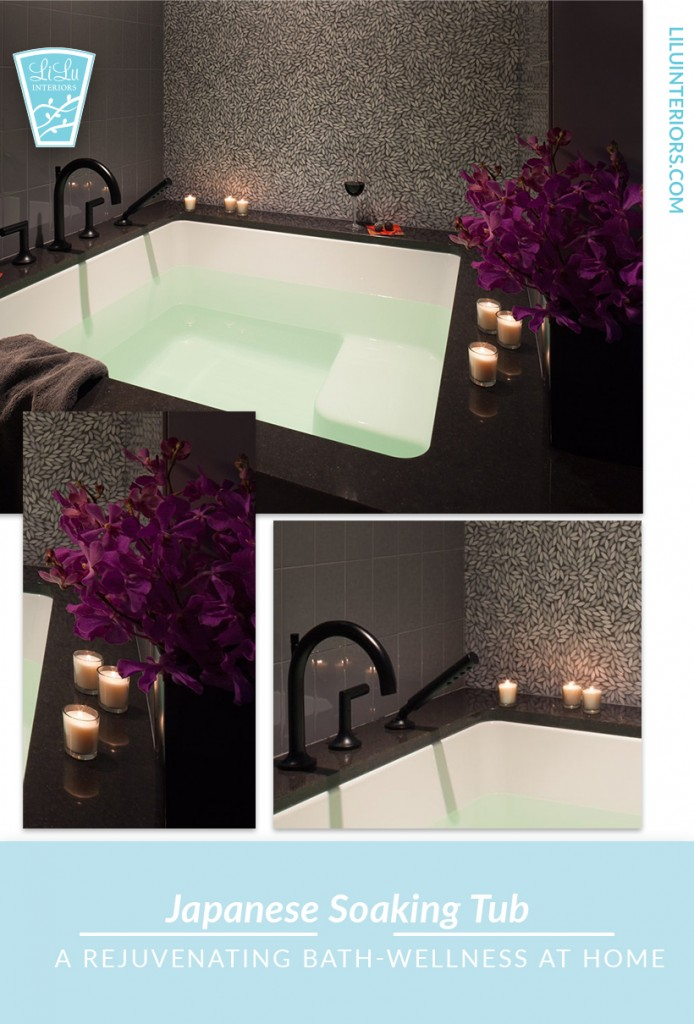 How to create the perfect atmosphere for a rejuvenating, relaxing bath ritual at home that will support your wellness. So important for busy moms and women. #wellness #bathritual #interiordesign #bathroom #japanesesoakingtub #bathroomdesign